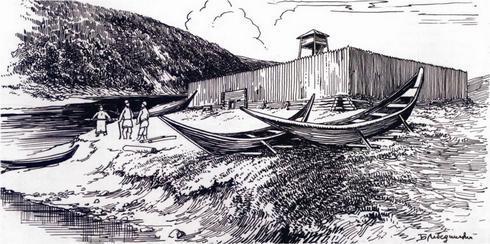 1652 г. Иркутская деревянная крепость - форпост (рисунок Б. Лебединского)
