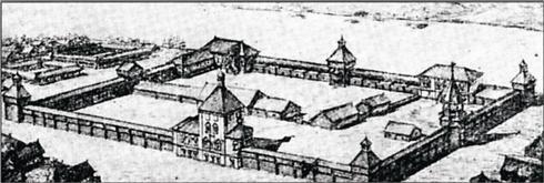 1695 г. Иркутская деревянная крепость (реконструкция В. Кочедамова)