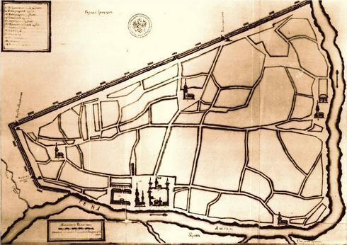 1729 г. План Иркутска (составлен М. Зиновьевым)