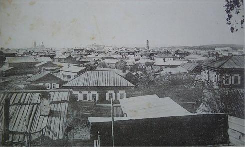 Застройка города после пожара 1879 г. Вид города Иркутска. 1906 г.